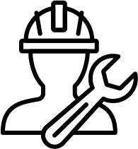 person with a hard hat and tool icon