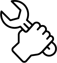hand with tool icon
