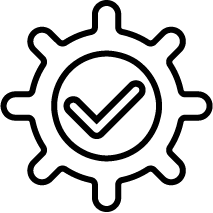 Gear with checkmark icon